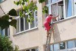 В Минске сняли видео, как сотрудница избиркома покидает школу через окно с объёмным пакетом в руках