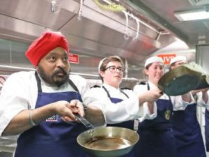 Ship's Company have a flipping good time on Pancake Day