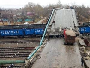 In the city Svobodnyi Bridge Collapsed on the Main TRANS-Siberian Road