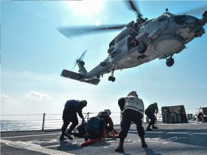US Military Helicopter Fell on the Deck of the Aircraft Carrier Ronald Reagan