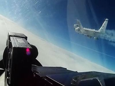 Su-27 Intercepted Reconnaissance Aircraft of the USA and Sweden Air Forces Over the Baltic