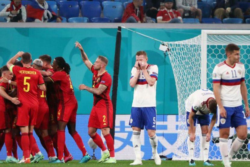 Финал матча сборных России и Бельгии по футболу.